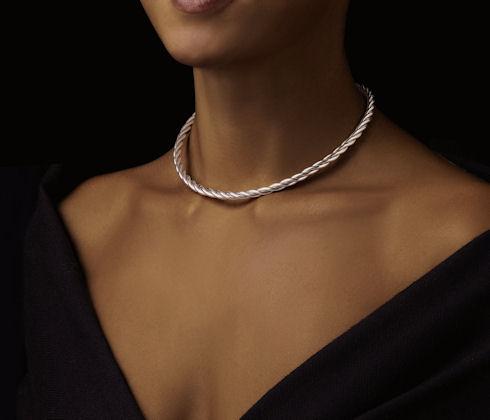 collier argent femme epais